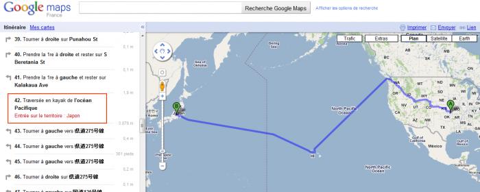 Google Map - Traversée en Kayak du Pacifique