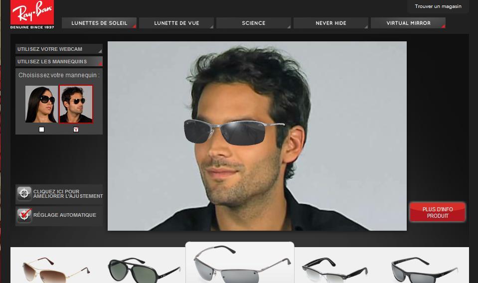 3f574f490e3 Réalité augmentée   Essayer vos lunettes en ligne avec Ray-Ban ...