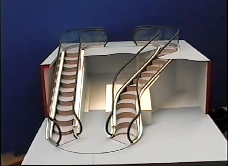 levytator un escalator aux courbes libres et conome en. Black Bedroom Furniture Sets. Home Design Ideas